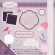 Scrapbooking Set: My Little Diary - Stock Vector