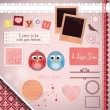 Scrapbooking Set: I love you — Stock Vector