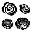 Set of different graphic roses — Stok Vektör