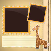 Photo album page with giraffe — Stockvektor