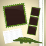 Photo album page with crocodile — Stock Vector #25523835