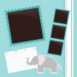 Photo album page with gelephant — Stock Vector #25524109