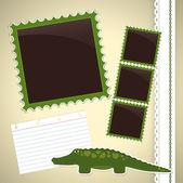 Página do álbum de foto com crocodilo — Vetor de Stock