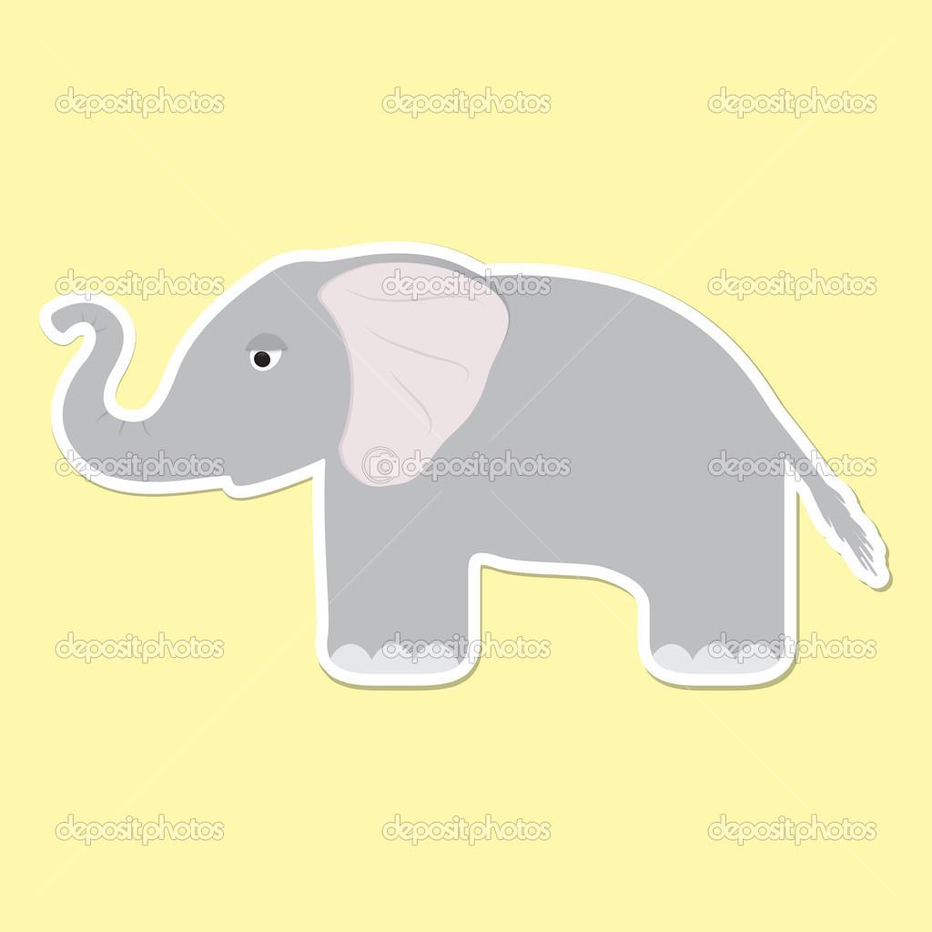 可爱的卡通大象贴纸 — 矢量图片作者 werta.