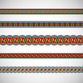 Seamless geometric tiling borders — Stock Vector