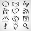 Ink style sketch set - web icons — Stockvector