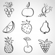 Ink style sketch set - fruits and berries — Stock Vector #34827087