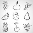 Ink style sketch set - fruits and berries — Stock Vector