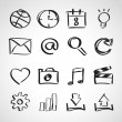 Stok Vektör: Ink style sketch set - web icons
