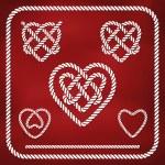 Heart shape rope knots — Stock Vector #35114713