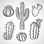 Ink style sketch set - cactus set — Stock Vector