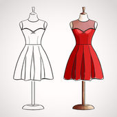 Hand drawn dress on maneqiun — Stock Vector