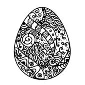 Sketch floral easter egg — Stock Vector