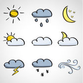 Ink style sketch set - weather icons — Stock Vector