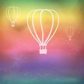 Fundo do arco-íris com balões de fogo — Vetor de Stock