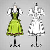 Hand drawn dirndl dress on mannequin. — Stock Vector