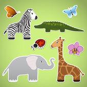Stickers with cartoon animals — Stok Vektör