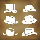 Classic men hat silhouettes — Stock Vector