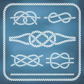 Nautical rope knotes — Stock Vector