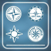 Old vintage windrose compass — Stock Vector