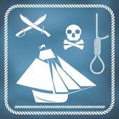 Korsan simgeler - sloop, cutlass, cellat düğümü — Stok Vektör