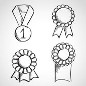 Set of sketch prize ribbons — Stock Vector