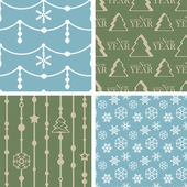 Vector seamless tiling patterns - christmas backgrounds — Vettoriale Stock