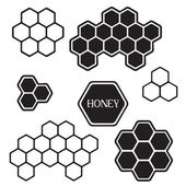 Honeycomb silhouette tags — Stock Vector