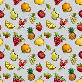 Vector seamless tiling patterns - fruits and berries. — Stock Vector