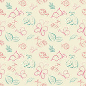 Vector seamless tiling pattern with hand drawn butterflies and l — Stock Vector