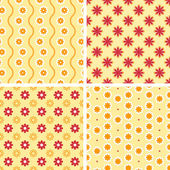 Vector seamless tiling patterns - romantic flowers — Stock Vector