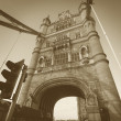 Stock Photo: Right part of famous London tower bridge in square sepivintage style