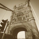 Right part of famous London tower bridge in square sepia vintage style — Stock Photo