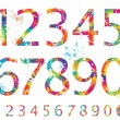 Font - Colorful numbers with drops and splashes from 0 to 9 - Stock Vector