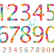Stock Vector: Font - Colorful numbers with drops and splashes from 0 to 9
