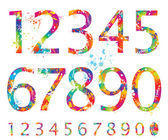 Font - Colorful numbers with drops and splashes from 0 to 9 — Vector de stock