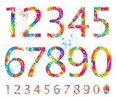 Font - coloridos números con gotas y salpicaduras de 0 a 9 — Vector de stock