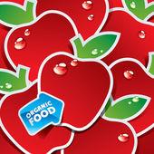Sfondo da mele rosse con la freccia di alimenti biologici. vecto — Vettoriale Stock