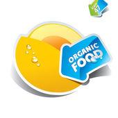 Melão de ícone com a seta por alimentos orgânicos. ilustração vetorial. — Vetorial Stock