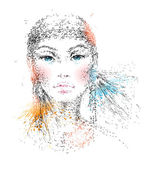 The young beautiful girl. Hand-drawn portrait. Vector illustrati — 图库矢量图片