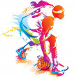Basketball player. Vector illustration. - Stock Vector