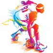 Basketball player. Vector illustration. — ストックベクター #13490275