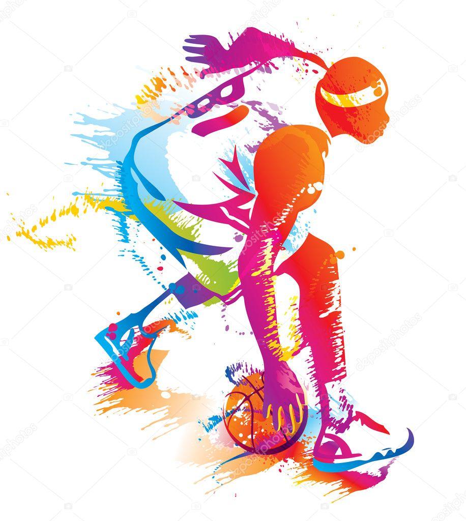 篮球运动员.矢量插画