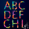 Font - Colorful letters with drops and splashes from A to I — Image vectorielle