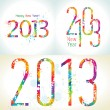 Set of New Year's cards 2013 with colorful drops and sprays — Imagen vectorial