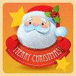 Christmas card with Santa Claus and Merry Christmas lettering. V — Imagen vectorial