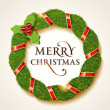 Christmas holly wreath with the Merry Christmas inscription — Векторная иллюстрация