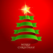 Christmas tree on a red background. Vector illustration. — Stock Vector #15584495