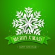 Christmas card with paper snowflake and inscription on a green - Stock Vector