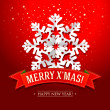 Vector de stock : Christmas card with paper snowflake and inscription on a red